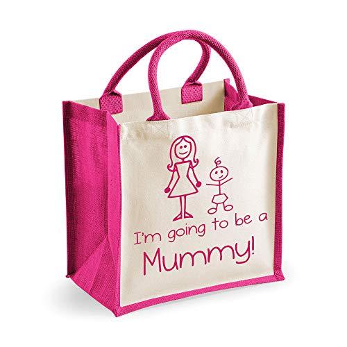 Moyen sac de jute I'm Going to be a Maman Rose Sac Fête des mères Nouvelle Maman Anniversaire Cadeau Noël