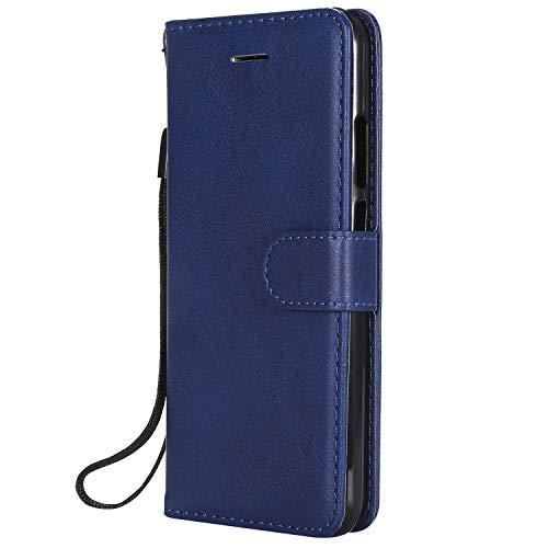 DENDICO Cover Huawei P20 Lite, Premium Portafoglio PU Custodia in Pelle, Flip Libro TPU Bumper Caso per Huawei P20 Lite - Blu Navy