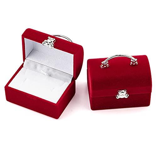 XKMY Cajas de regalo para anillos de 1 pieza pequeña caja de joyería de terciopelo para anillos de boda, caja de exhibición para collar, caja de regalo de oso lindo (color: rojo)