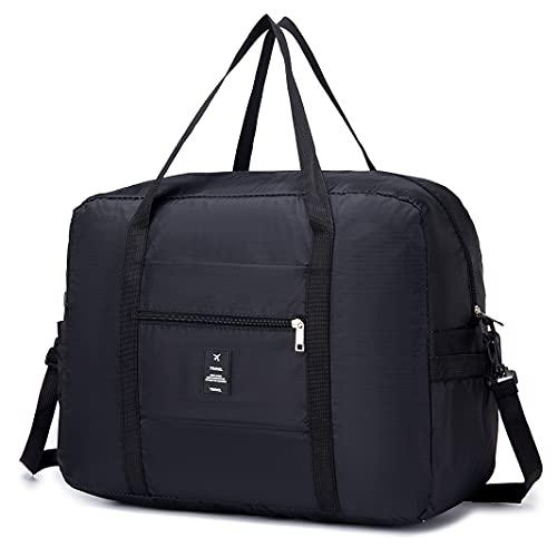 YOODI Faltbar Reisetasche Ultraleicht Reise Duffle Bag, wasserdichte Reisetasche Leicht Handgepäck Faltbar Tasche auf Koffer aufsteckbar Geeignet für Fitnessstudio, Reisen, Camping, Einkaufen 40L