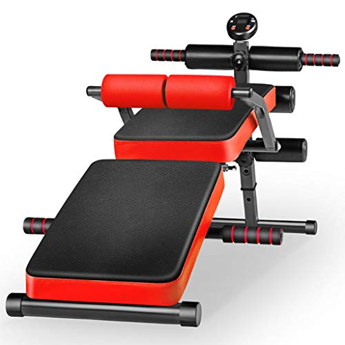 JIAX Sit Up Bench Adjustable Workout Weight Bench Foldable Supine Board with Back Support Foldable Bench Fitness Equipment Supine Board for Home Gym Ab Exercises (Color : Red)