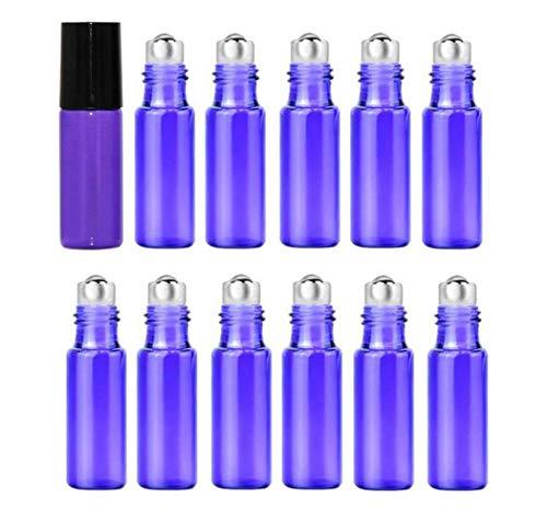 12 Stück 5 ml leere nachfüllbare Glasflasche zum Aufrollen, Kosmetik, ätherisches Öl, Parfüm, Lippenbalsam, Make-up, Probe, Verpackung, Reisegröße, Behälter mit Edelstahlrolle und schwarzer Kappe