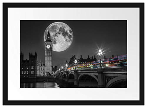 Picati Big Ben mit Mond London Bilderrahmen mit Galerie-Passepartout/Format: 55x40cm / garahmt/hochwertige Leinwandbild Alternative