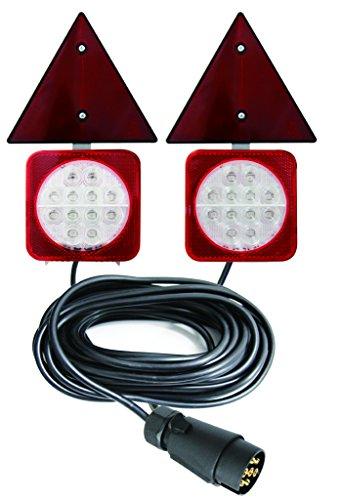 Led-achterlichten set voor aanhangers met georiënteerde magnetische bevestiging met driehoekige reflectoren, 12 V, 24 V