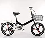 20 Pulgadas Bicicleta Bici Ciudad Plegables Adulto Hombre Mujer, Bicicleta de Montaña Btt MTB Ligero Folding Mountain City Bike Doble Suspension Bicicleta Urbana Portátil, H106ZJ