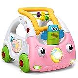 COSTWAY 3 in 1 Lauflernhilfe, Baby Walker höhenverstellbar, Gehfrei mit Musik & Licht, Laufhilfe...