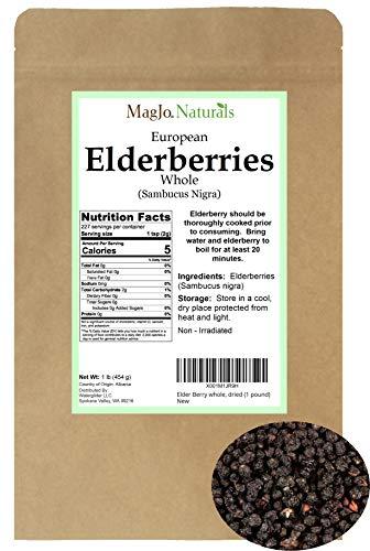 Elder Berry Whole Organic, Dried (1 Pound)