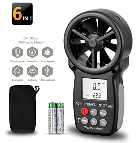 【6 IN 1】Digitaler Anemometer, handlicher Windmessgerät,Windmesser Kit with Tripod,Rücklicht Thermometerfür Windgeschwindigkeitsmesser Lufttemperatur(AP-007WM).