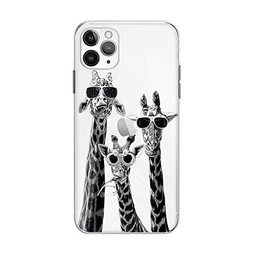 FancyHülle Kompatibel mit iPhone 12 (6,1 Zoll) Tiermuster Weiche Silikon Schutzhülle Transparent iPhone 12 Hülle (Giraffe Trio)