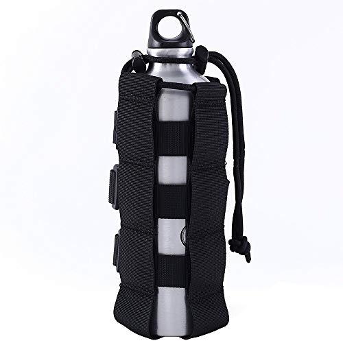 MiOYOOW Molle bolsa de botella de agua, 1000D nailon con cordón para hervidor de agua, bolsa táctica para acampar y cazar