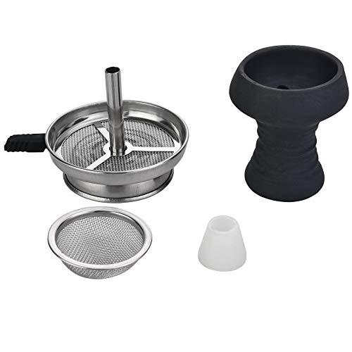 Ryosee-Shisha Steinkopf Kopf Set,Tonkopf für dichten Rauch inkl,Kaminaufsatz + Shisha Sieb & Dichtung - Einfacher Kopfbau für intensiven Geschmack