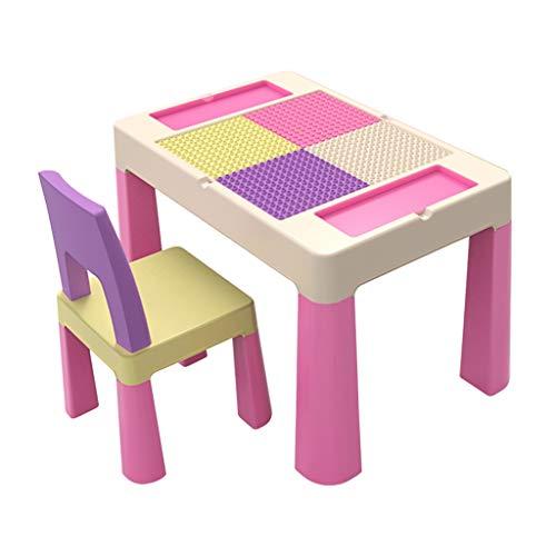Table d'étude pour enfants Ensemble de Table Table de Jeu pour Enfants pouvant Jouer avec des Blocs Protection très sûre et Saine (Color : Pink)
