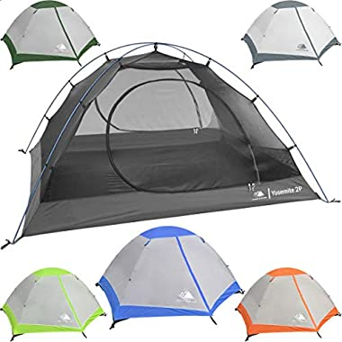 Hyke & Byke Yosemite 2 Person Backpacking Tent with Footprint - Lightweight Two Door Ultralight Dome Camping Tent (Blue)