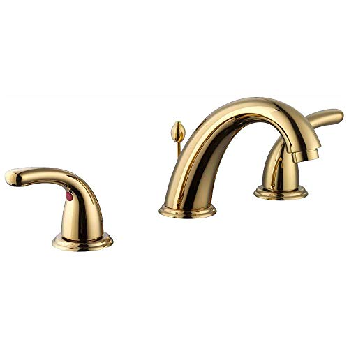 Glacier Bay 67364W-6A02 Builders 8 in. Widespread 2-Handle High-Arc Bathroom Faucet in Polished Brass