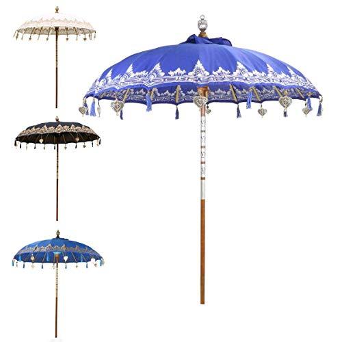 Oriental Galerie Bali Sonnenschirm Balinesischer Garten Schirm Baumwolle Sonnenschutz Handarbeit Retro Vintage Dekoschirm 2-teilig ca.180cm Ø Einfache Bemalung, Design:Nr. 5