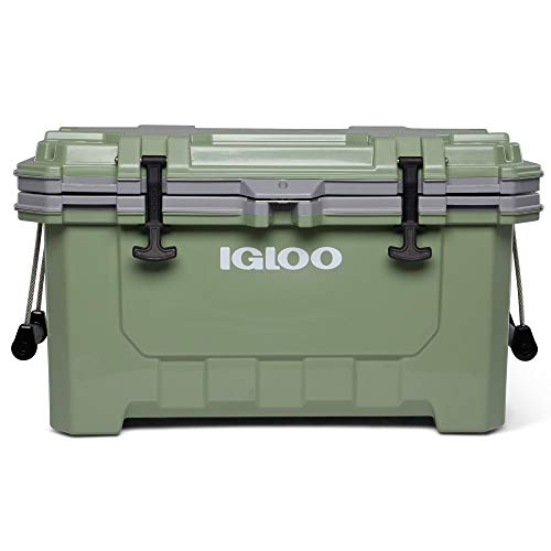 Igloo 00050477 IMX 70 Quart Lockable Insulated Ice Chest Heavy Duty Injected Molded Construction Cooler with Carry Handles, Oil Green