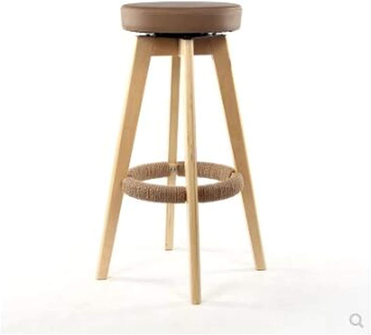 European Bar Stools Composite Solid Wood Retro High Stool Bar Stool Bar Stool Front High Stool Wooden Coffee Chair