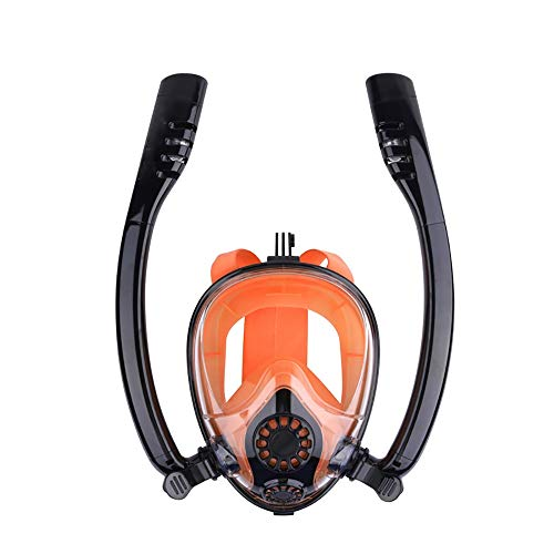 Yaunli Gafas de Buceo Las máscaras de Buceo de Doble Tubo Completo máscara de Snorkel en seco Doble máscara de Snorkel Equipo for Adultos Mascarilla Facial de Snorkel (Color : Multi-3, Size : L/XL)
