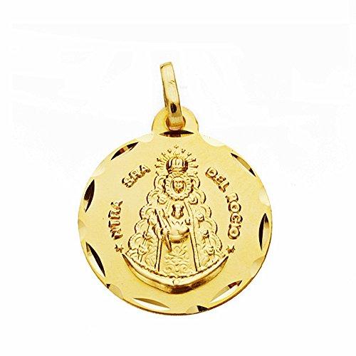 Medalla Oro 18K Virgen Del Rocío 18mm. Labrado Tallado [Aa2550Gr] - Personalizable - Grabación Incluida En El Precio