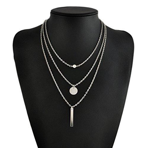 L_shop Halskette mit Anhänger aus Metall mit Pailletten für Damen Siehe Produktbeschreibung silber