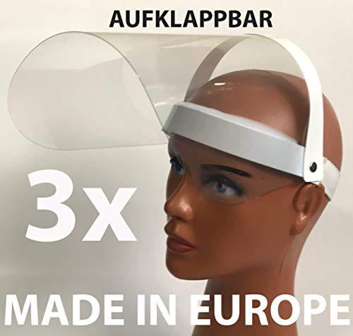 3 x Visier Gesichtsschutz Schutz Verstellbar Gesichtsschutzschild Augenschutz Nasen Augen Spritzschutz vor Flüssigkeit Face Shield hohe Qualität Gesichtsvisier Spuckschutz
