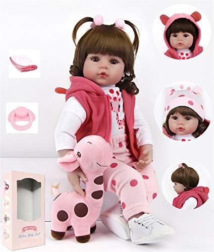 """ZIYIUI Reborn Bambolotti 24 """"60Cm Realistico Fatto Mano Reborn Baby Bambole Soft Silicone Vinile Bambole Doll Giraffe Giocattolo Regalo Bambini"""