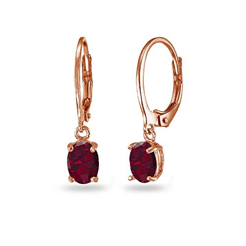 LOVVE Rose Gold Flashed Sterling Silver Created Ruby 7x5mm Oval Dangle Leverback Earrings