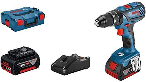 Bosch Professional 18V System GSB 18V-28 - Taladro percutor a batería (63 Nm, 1900 rpm, 2 baterías x 4.0 Ah, en L-BOXX)