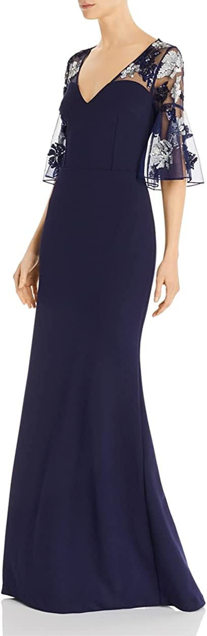Aidan Mattox Womens Navy Beaded Short Sleeve V Neck Full-Length Sheath Formal Dress Size 6