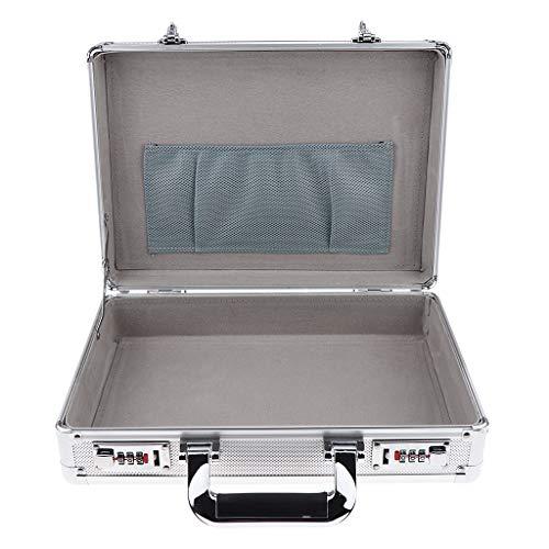 Milageto 1x Boîte de Salon de Coiffure En Aluminium Serrure Outils de Coiffeur étui de Transport Argent