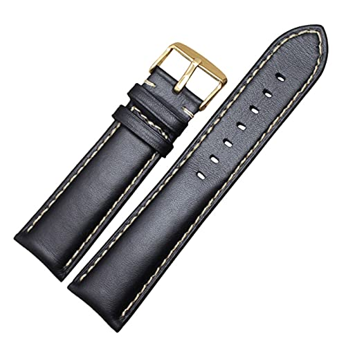 HANLILI kasu Correa de Cuero Genuino de la Banda de Reloj Negro marrón Oscuro 18 19 20 21 22 24mm Relojes de Relojes Hombres Mujeres pulidas Hebilla Relojes Hombre
