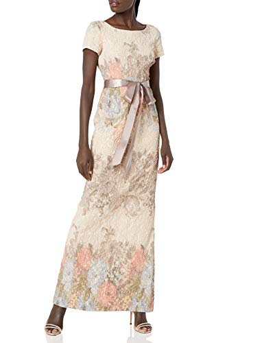 Adrianna Papell Women's Matelasse Column Gown, Blush Multi, 10