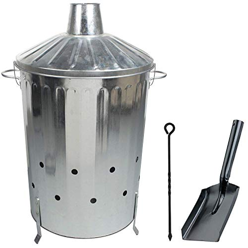Large 90 Litre Incinerator Burning Fire Bin Rubbish Paper Leaves Burner with Poker and Shovel