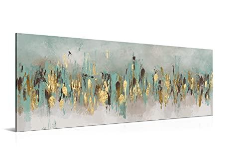 Cuadro Golden Time - 150 x 50 cm - Decoración Moderna para Salón y Dormitorio, Lienzo de Poliéster y Bastidor de Madera, Multicolor, LEN-108