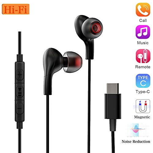 USB Type C Earphones, Wired in-Ear Extra Bass Noise Cancelling Headphones Magnetic Earbuds with Mic & Remote, Sports Headset for Google Pixel 2/XL, HTC 10/U11, Essential Phone and Type-c Devices