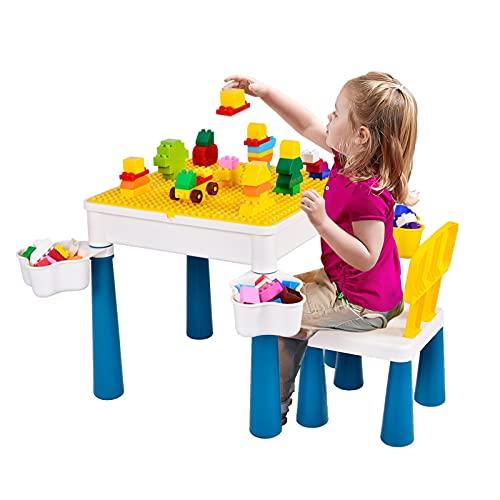 5 in 1 Kinder Aktivitäts Tischset, Bausteine Spieltisch, Multifunktional Aktivitätstisch mit 4 Aufbewahrungsboxen & 130 großen DIY Blöcken, für Kinder Jungen Mädchen, 1 Stuhl und Bausteintisch
