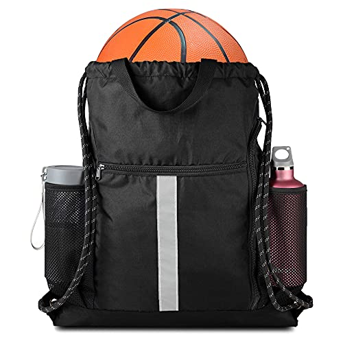 Drawstring Backpack Bag Sports Gym Backpack with Shoe Compartment and Two Water Bottle Holder for Men Women Large String Backpack Athletic Sackpack for School Black
