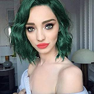 ENTRANCED STYLES Synthetic Wigs for Women Green Color Bob Curly Wig with Side Parting Heat Resistant Fiber Womens Wig for Cosplay,Party&Daily Use Costume Wig