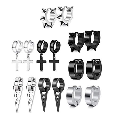 JZZJ 8 Pares Acero Inoxidable Pendientes para Hombres Mujeres Set Aro Pendiente Piercing Cross Dangle Huggie Punk Pendi(-)