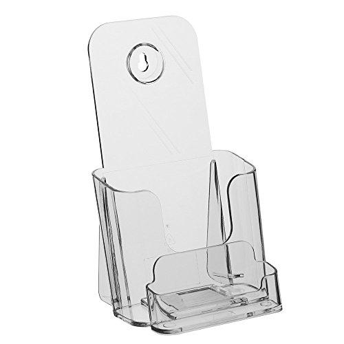 DIN Lang (99x210mm) Prospekthalter/Prospektständer / Flyerhalter mit Visitenkartenfach/Visitenkartenhalter / Visitenkartenbox/Flyerständer
