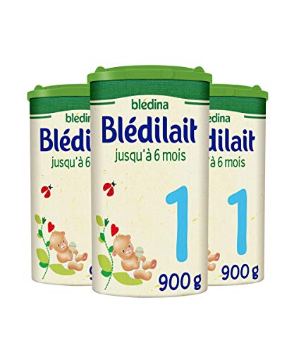 Blédina Blédilait 1er âge - Lait pour nourrissons en Poudre, dès la Naissance et jusqu'aux 6 mois de bébé - Pack de 3 Boîtes de 900 g