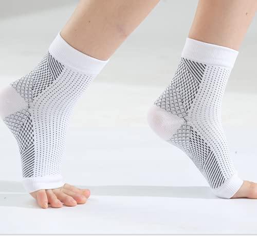 Medias de compresión, vendaje para tobillo, deportivas, fascite plantar, tobillera tobillera para hombres y mujeres, para el arco del pie, calcetines de compresión para fútbol, fitness, color blanco