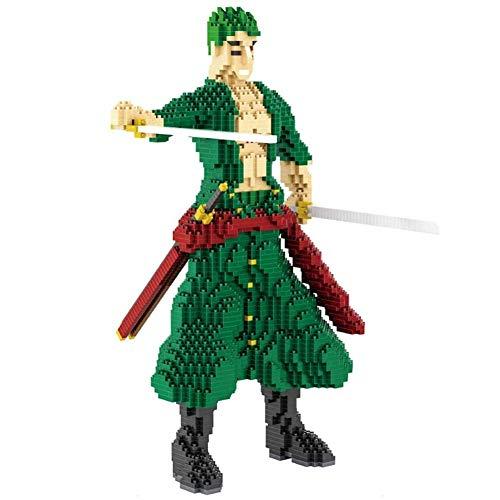 Nwihac Gránulos de carácter, Mini Bloque de Diamantes de espadachín Verde, Rompecabezas Creativo de Bricolaje, Juguetes ensamblados en 3D, niños Bloquea el Regalo de Juguete