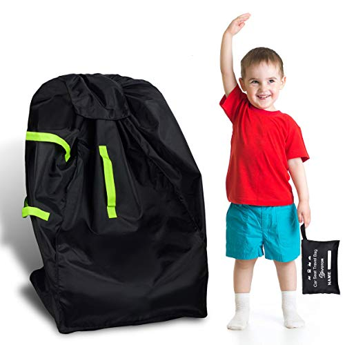 Durable Car Seat Travel Bag, EIVOTOR Gate Check Bag for Baby Car Seats & Booster Seats, Easy Carry Gate Check Bag for Airport, Foldable with Pouch, Padded Straps