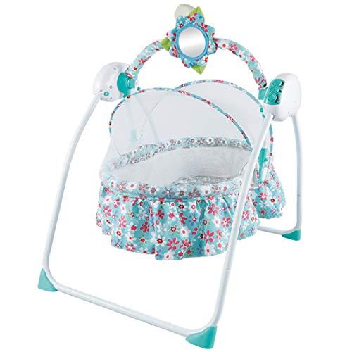 WILLQ Kinderschaukel, Baby-Schaukelstuhl, beruhigender vibrierender Schaukelsitz, tragbarer Komfort Elektrisches intelligentes Musik-Wiegen-Moskitonetz,Blau,61 * 74 * 73cm