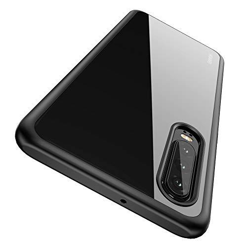 Huawei P30 Hülle [Premium TPU + PC] [Hybrid Transparent] [Shock Proof] [Anti-Kratzer] [Ultra Slim] Huawei P30 Hülle Transparent - Schwarz