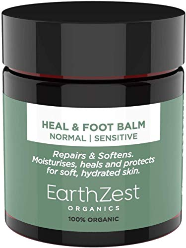 Foot Cream Day & Overnight Treatment by EarthZest Organics. Award-winning Heal & Foot Balm for Cracked Heels, Dry Skin, Fungal Nail & Athletes Foot - 100% Organic, 100% Natural, Certified Vegan. Safe & Beneficial for Diabetics. With Certified Organic Shea Butter, Apricot Kernel Oil & Peppermint Oil. Long-lasting 60g Jar. NO Synthetics or Water. Highly Concentrated, Effective & Long-lasting.