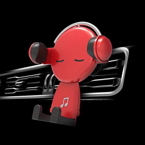 BDTLBJ Mr. Music - Soporte para teléfono móvil para coche (color: rojo)