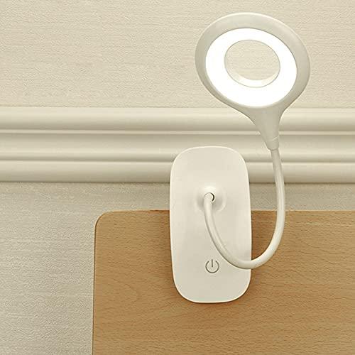 HSLY Lampara de Noche Dormitorio USB, Lámpara de Pinza LED 360° Cuello Flexible 2 Modos Ajustables Lampara Mesilla para Oficina Escritorio