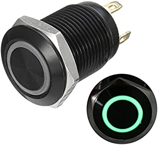 TOOGOO R Pulsador LED Interruptor de boton pulsador 12V 19 mm Interruptor autoblocante negro